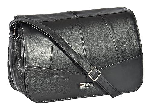 Womens Black Soft Leather LARGE Shoulder Bag Flap Over Classic Cross Body -  Agnes 76541856549e9