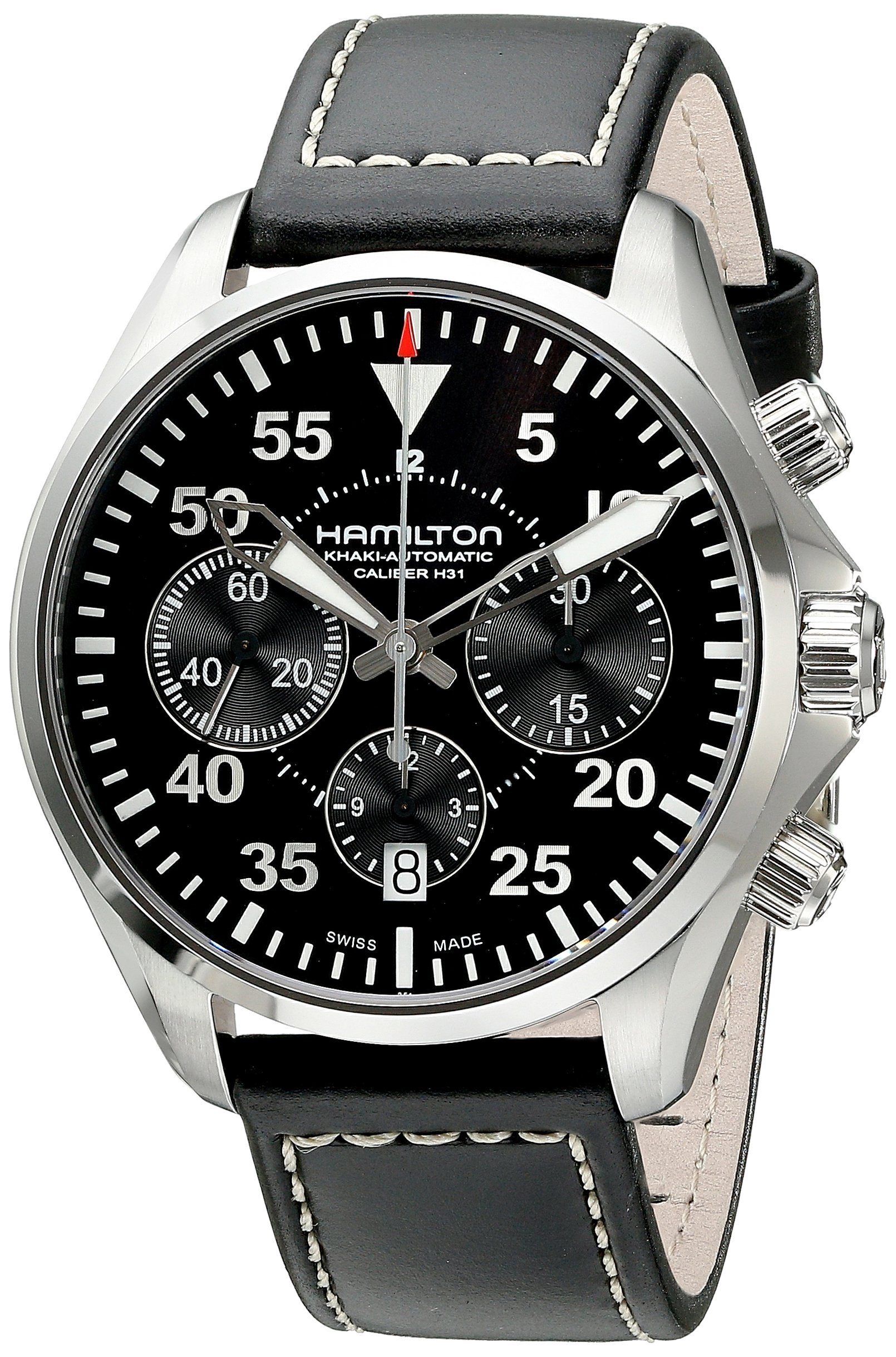 Hamilton Men's H64666735 Khaki Aviation Stainless Steel Automatic Watch with Black Leather Band by Hamilton