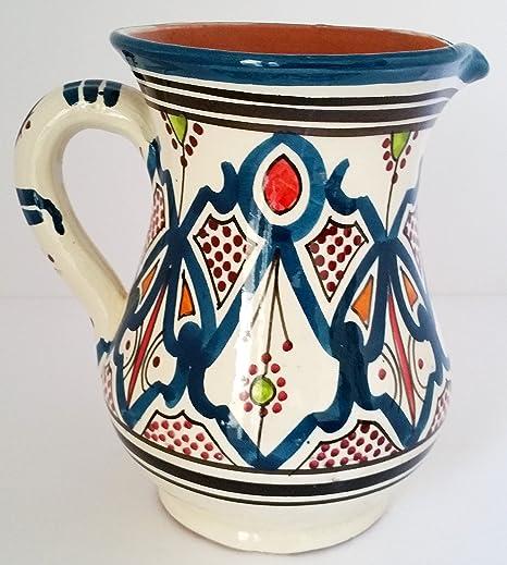 Tarro de cerámica marroquí jarra sangria enfriador de zumo de agua dispensador de bebidas