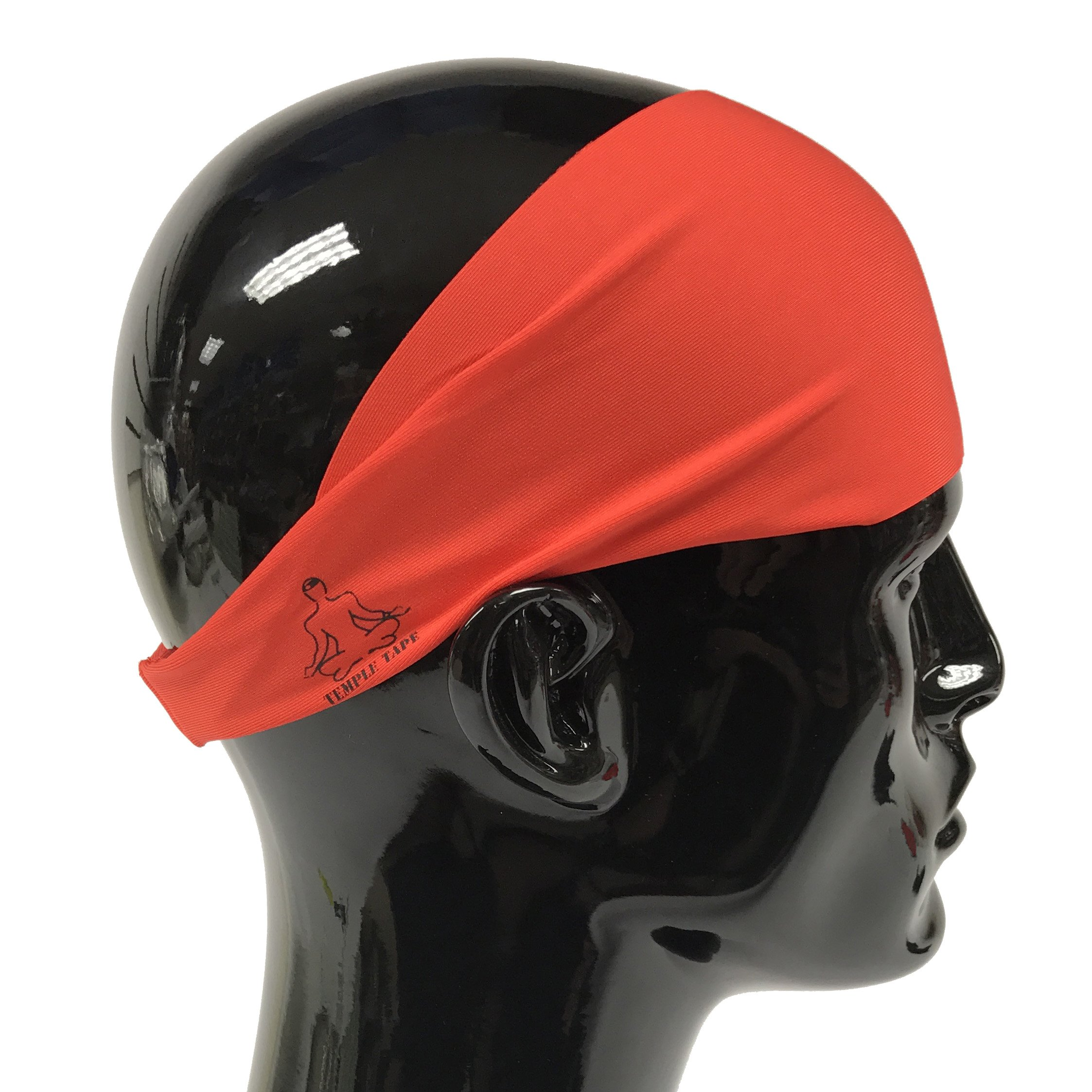 Temple Tape Headbands for Men and Women - Mens Sweatband & Sports Headband Moisture Wicking Workout Sweatbands for Running, Cross Training, Yoga and Bike Helmet Friendly - Red by Temple Tape