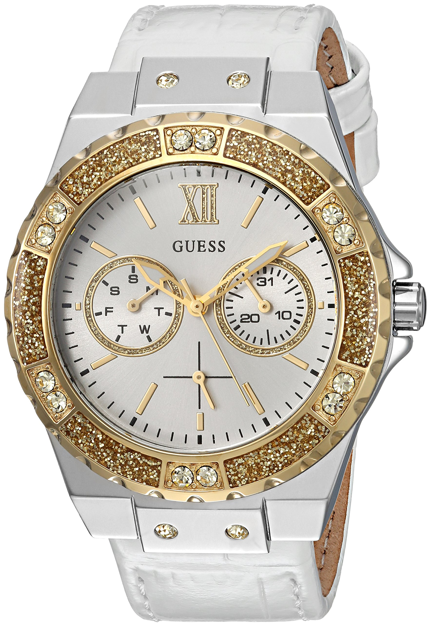 GUESS Women's Quartz Stainless Steel and Leather Casual Watch, Color:White (Model: U0775L8)