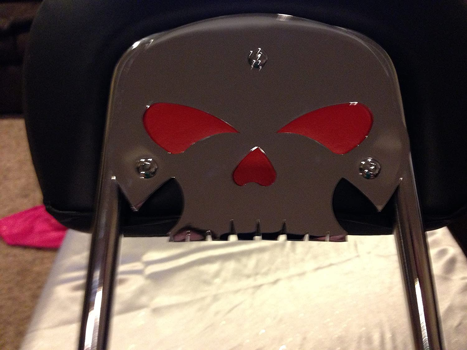 backrest not included Kustom cycle parts Harley Davidson chrome skull backrest mounting plate with red eyes fits touring bikes Road King Street Glide mounting plate only