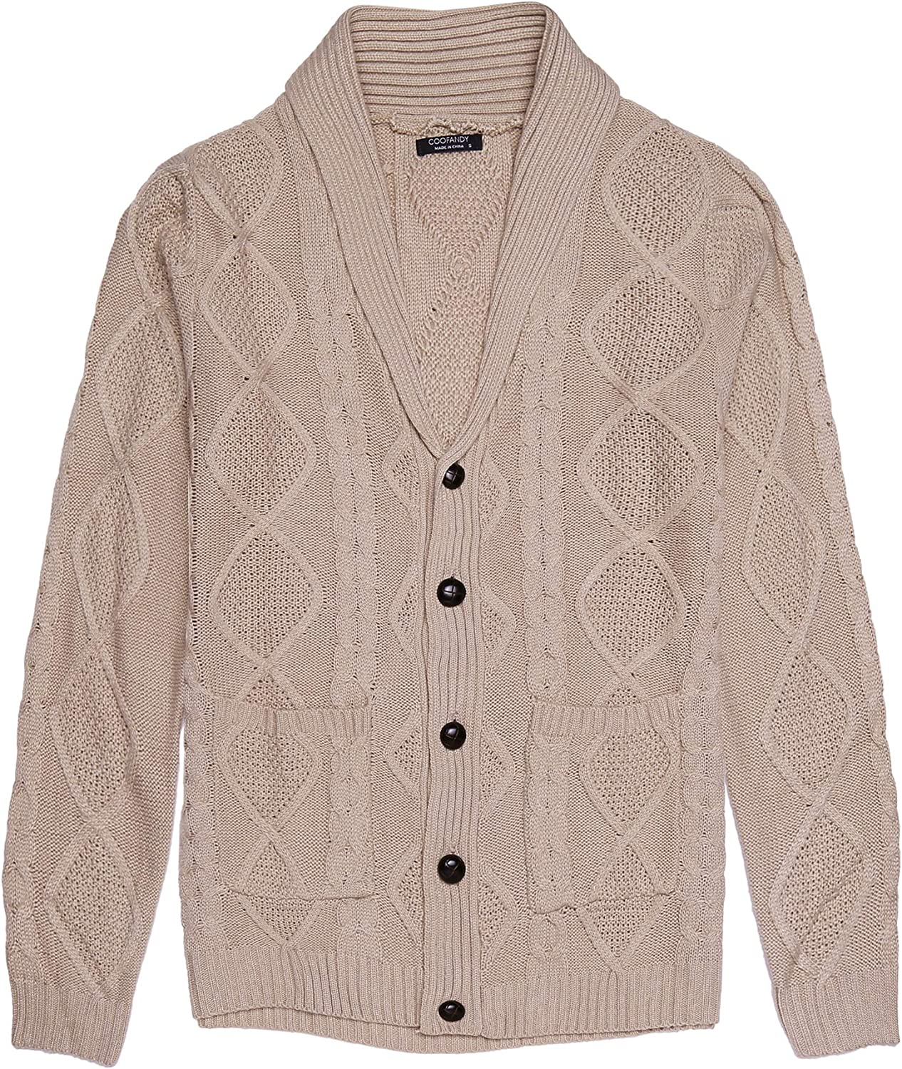 COOFANDY Men's Shawl Collar Cardigan Sweater Slim Fit Casual Button Down Cardigan Knitted Jacket