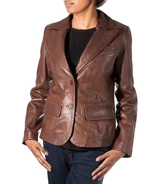 A to Z Leather Chaqueta de Chaqueta cl‡Sica de Dos Botones