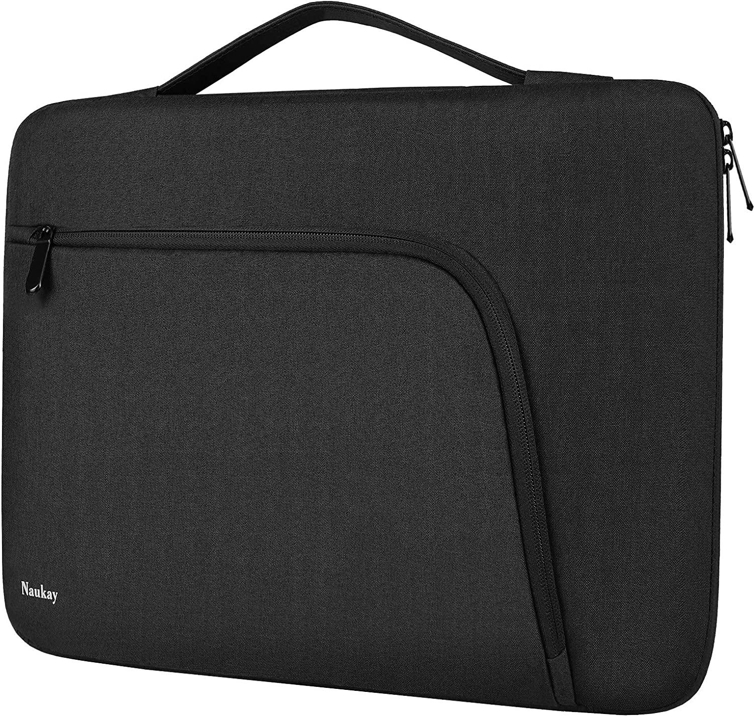 "15.6 Inch Laptop Sleeve Protective Case Compatible with MacBook Pro 15"" 15.6"" Dell Lenovo HP Asus Acer Sony Toshiba Chromebook Notebook Ultrabook, Water Resistant Briefcase Carrying Bag, Black"