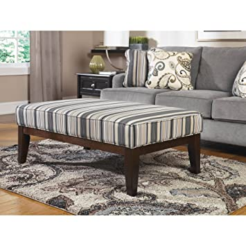 Amazing Ashley 7790008 Yvette 48u0026quot; Contemporary Fabric Wood Frame Ottoman  Cocktail Table With Striped Pattern Upholstery