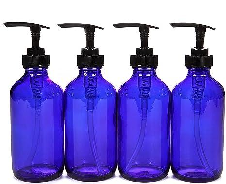 vivaplex, 4, grandes, 8 oz, vacío botellas de cristal, azul cobalto