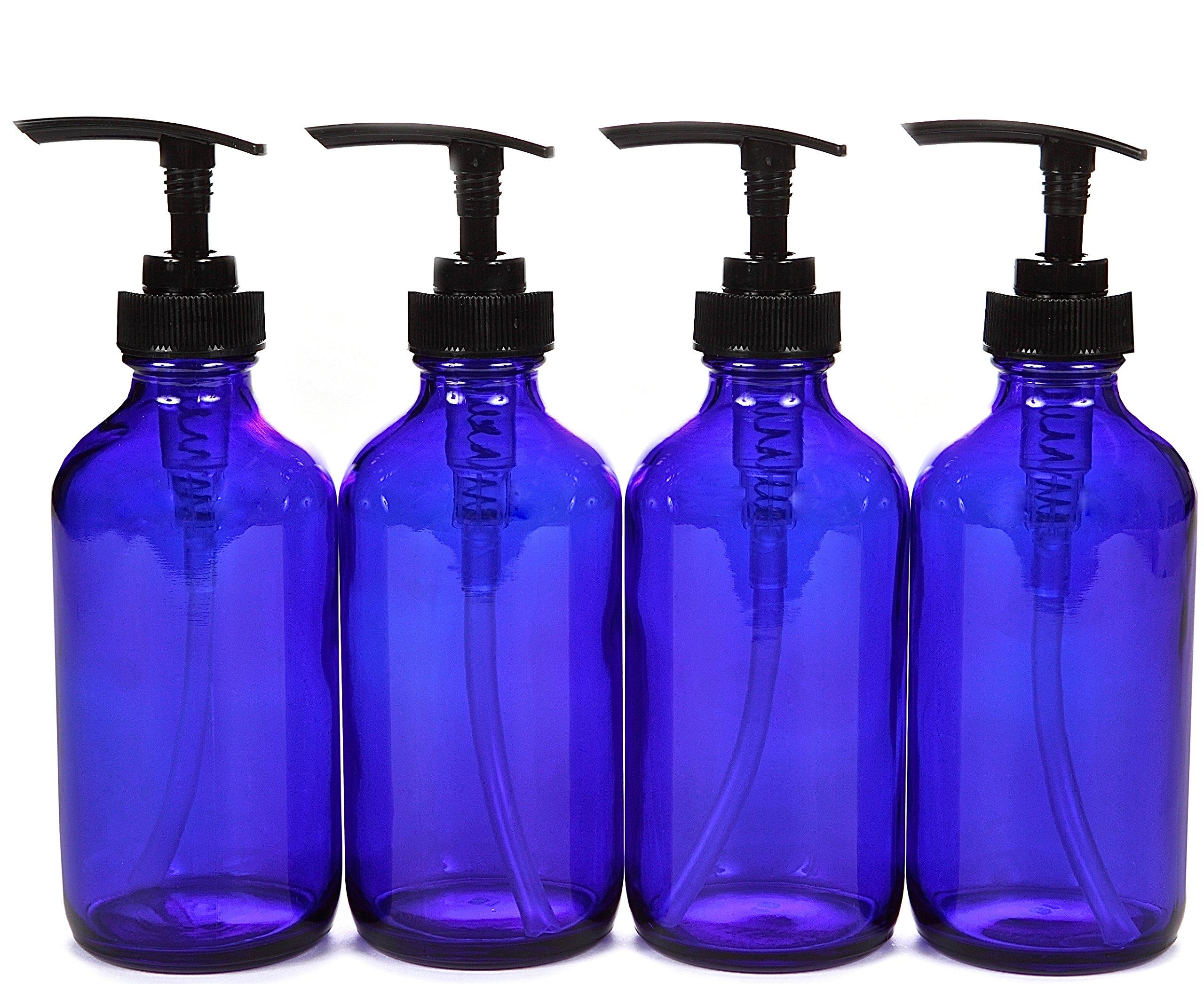 Vivaplex, 4, Large, 8 oz, Empty, Cobalt Blue Glass Bottles with Black Lotion Pumps