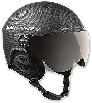 Black Crevice Casque De Ski Avec Visière Et Système De Signalisation