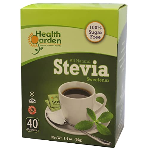 Health Garden Stevia Sweetener Powder – All Natural – Kosher – Gluten and Sugar Free – Keto Friendly 40 Packets