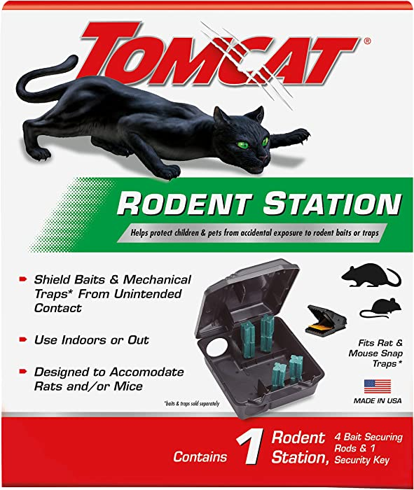 Tomcat Rodent Station, Includes 1 Rodent Station with 4 Bait Securing Rods and 1 Security Key - Fits Rat or Mouse Sized Traps (Baits & Traps Sold Separately) - Use Indoors or Outdoors