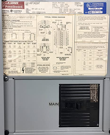 GE General Electric AQF3422AT A Series Panelboard 225A Main Breaker on 3 phase 220v wiring-diagram, 3 phase electric motor diagrams, 3 phase electrical wires, 3 phase outlet wiring diagram, 3 phase electric panel diagrams, 3 phase generator wiring diagram, 3 phase wiring diagram motor, 3 phase lighting wiring diagram, 3 phase power diagram, 3 phase 4 wire diagram,
