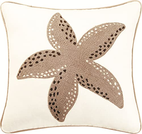 C F Home Starfish Rice Stitch Pillow, 18 by 18-Inch