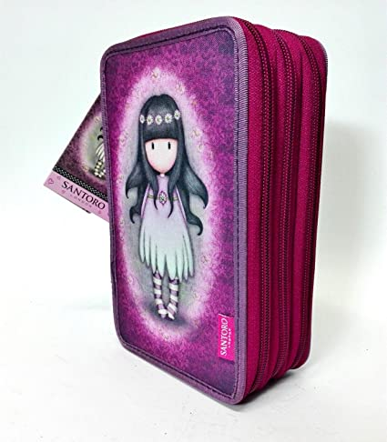 Santoro Gorjuss London - Estuche escolar de 3 cremalleras, color violeta, fantasía, con accesorios: Amazon.es: Oficina y papelería