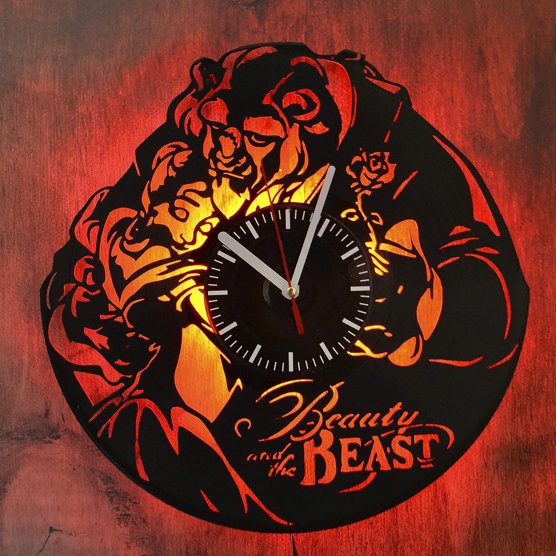StarlingShop La Bella y la Bestia Reloj de Pared de Vinilo con luz led Reloj de Pared con luz de Vinilo Decoración de la Pared Interior La Mejor Idea Interior decoración Interior única