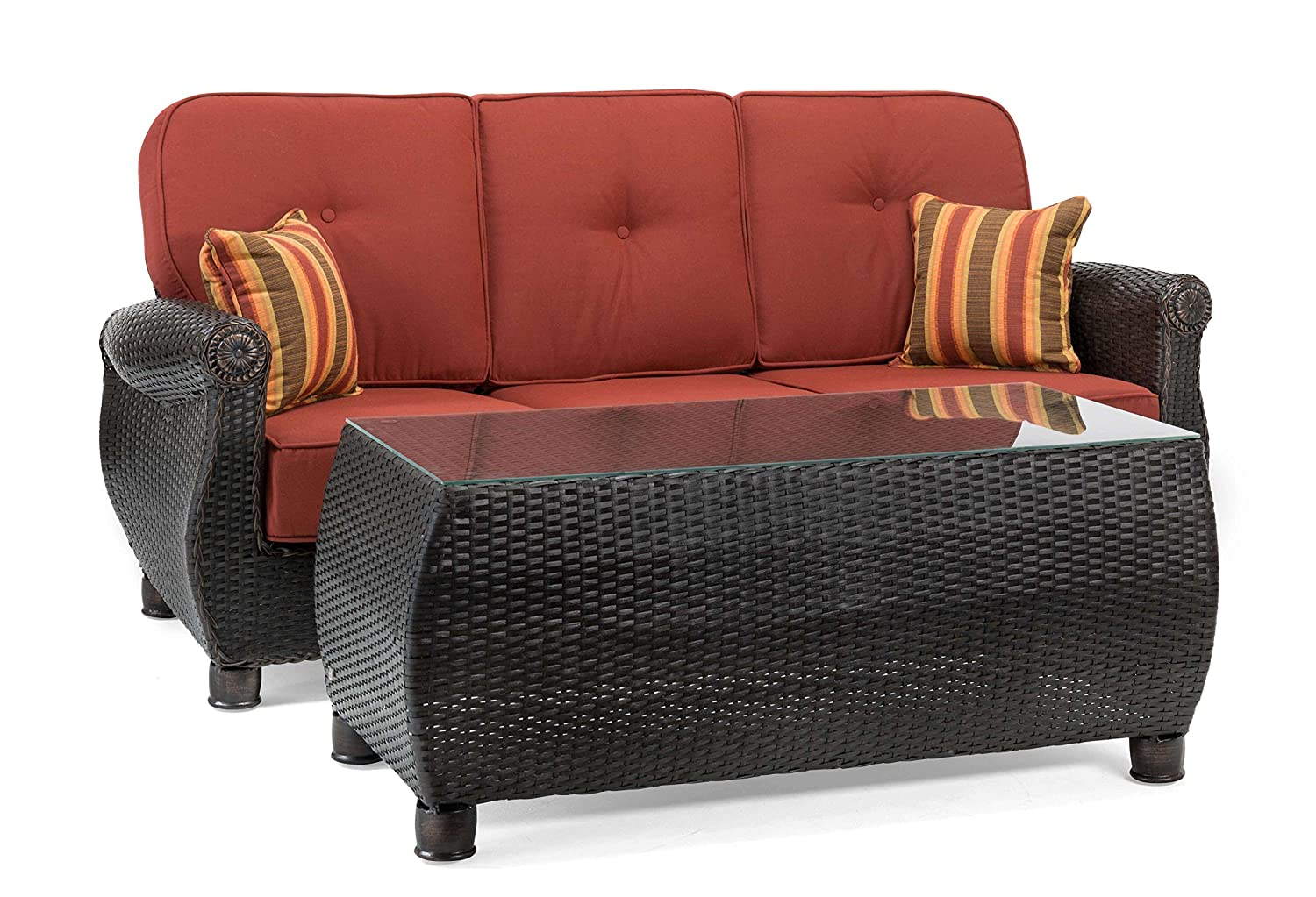 Amazon com la z boy outdoor breckenridge resin wicker patio furniture sofa with pillows and coffee table set brick red with all weather sunbrella