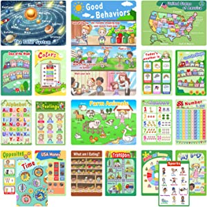 Learning Posters for Toddlers, Alphabet Chart, 20 Pack Preschool Learning Posters for Pre K-K, 1-100 Educational Posters for Preschoolers Kindergarten Home Classroom Decor with Glue Dot-16 x 11 Inch