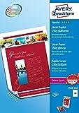 Avery 200 Feuilles de Papier Premium 150g/m² - A4 - Impression Lase - Brillant - Blanc (2598)