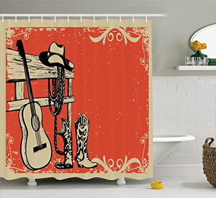 Ambesonne Western Shower Curtain Image Of Wild West Elements With Country Music Guitar And Cowboy