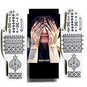 34c8615455513 Amazon.com : Henna Temporary Tattoos - Sexy Jewel Designs - Be the Show  Stopper by Beautifying your Hands or Feet with Delicate Henna Patterns  (Black ...