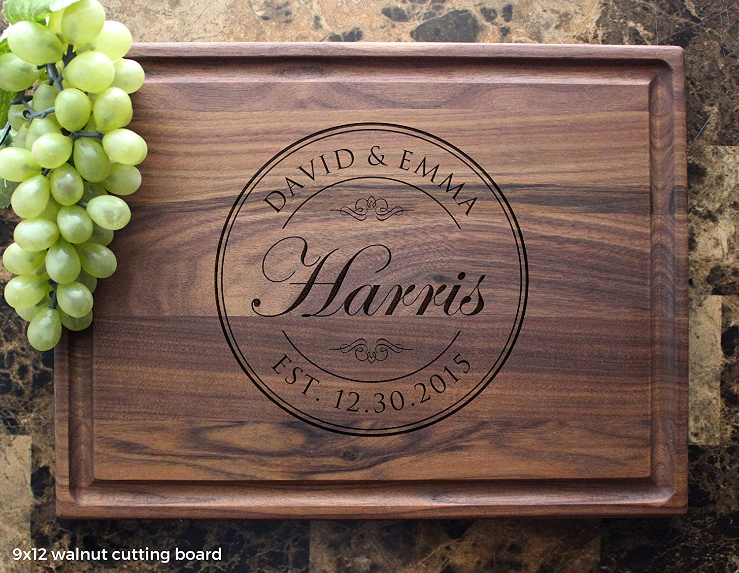 B0161P603S Personalized Cutting Board, Custom Keepsake, Engraved Serving Cheese Plate, Wedding, Anniversary, Engagement, Housewarming, Birthday, Corporate, Closing Gift #001 911y1dbVo0L