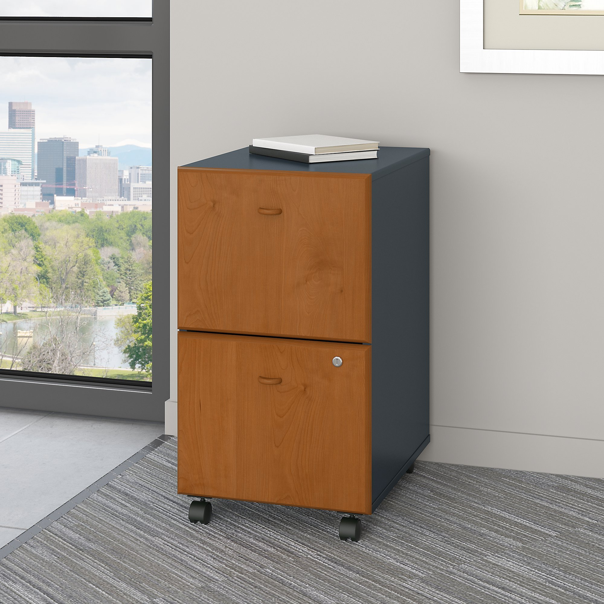 Bush Business Furniture WC57452PSU Series A 2 Drawer Mobile File Cabinet, Natural Cherry/Slate by Bush Business Furniture