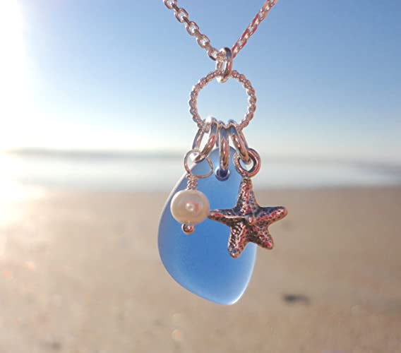 Beach Sea Glass Necklace Gift for Her Necklace by BethExpressions Heart Charm Florida Souvenir Blue Sea Glass Blue Beaded Necklace