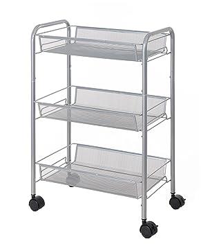 finnhomy 3 Tier carrito multiusos de malla Metal Rolling utilidad cesta de la compra con 3