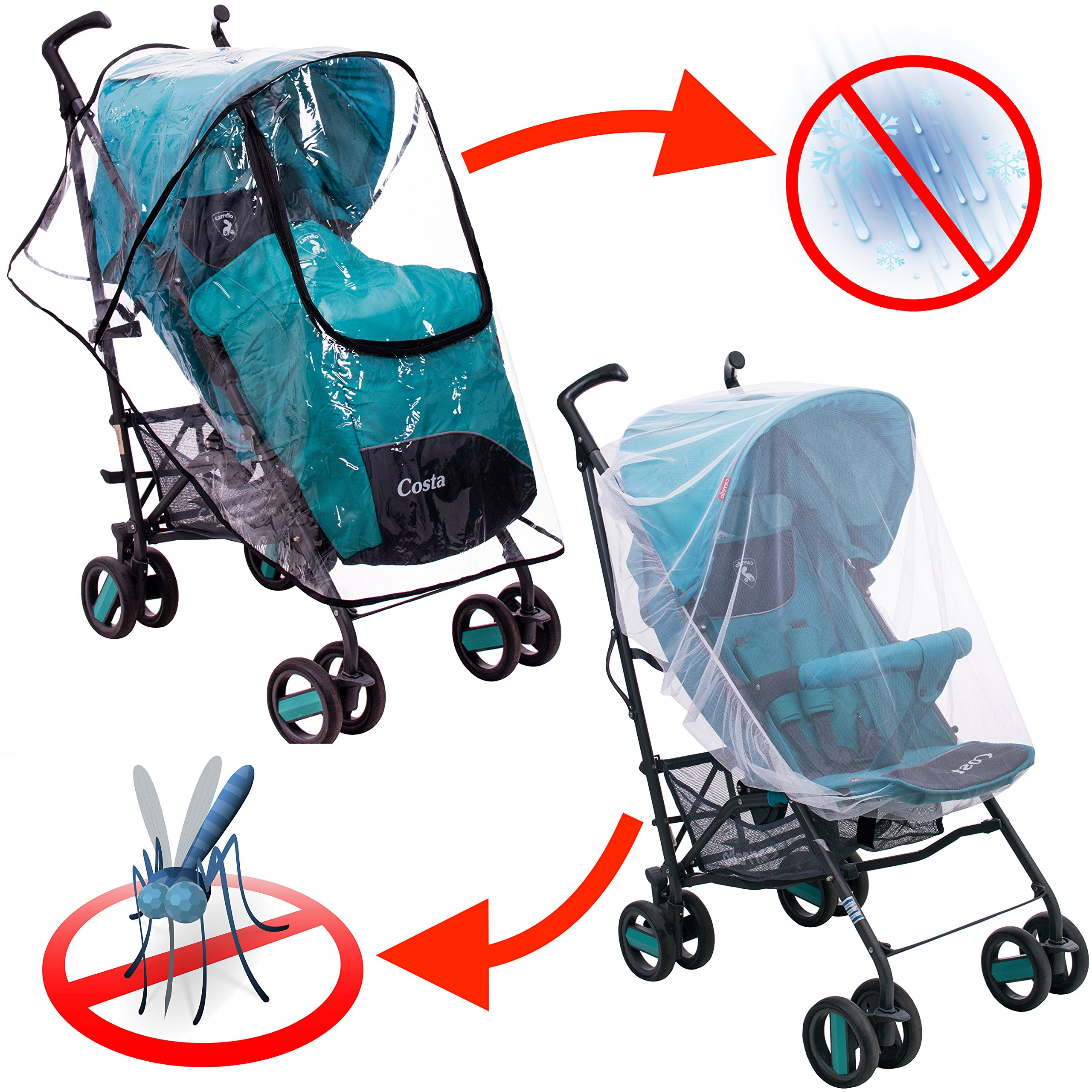 Rain Cover - Mosquito Net - Stroller Rain Cover and Baby Mosquito Net (2-Piece Set) Waterproof, Windproof Protection - Travel-Friendly, Outdoor Use - Easy to Install and Remove by SofiaToys