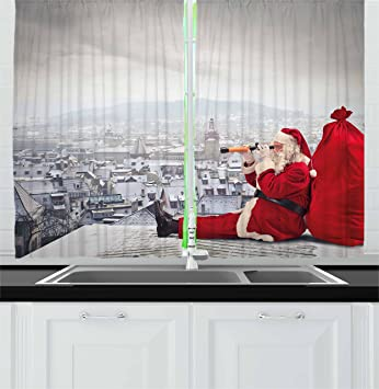 ambesonne christmas kitchen curtains by santa claus sitting on roof top looking through binoculars cloudy - Christmas Kitchen Curtains