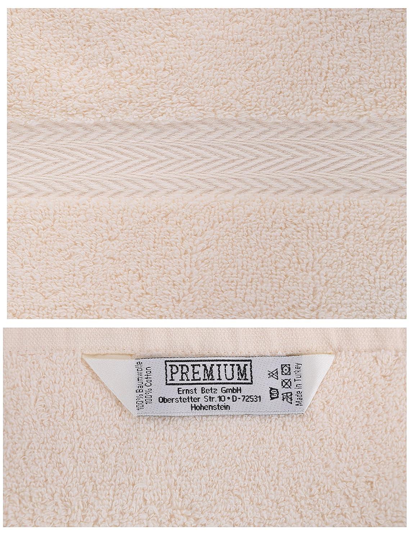 Betz Pack of 10 Wash Glove Mitts PREMIUM 100/% Cotton 16x21 cm beige /& white