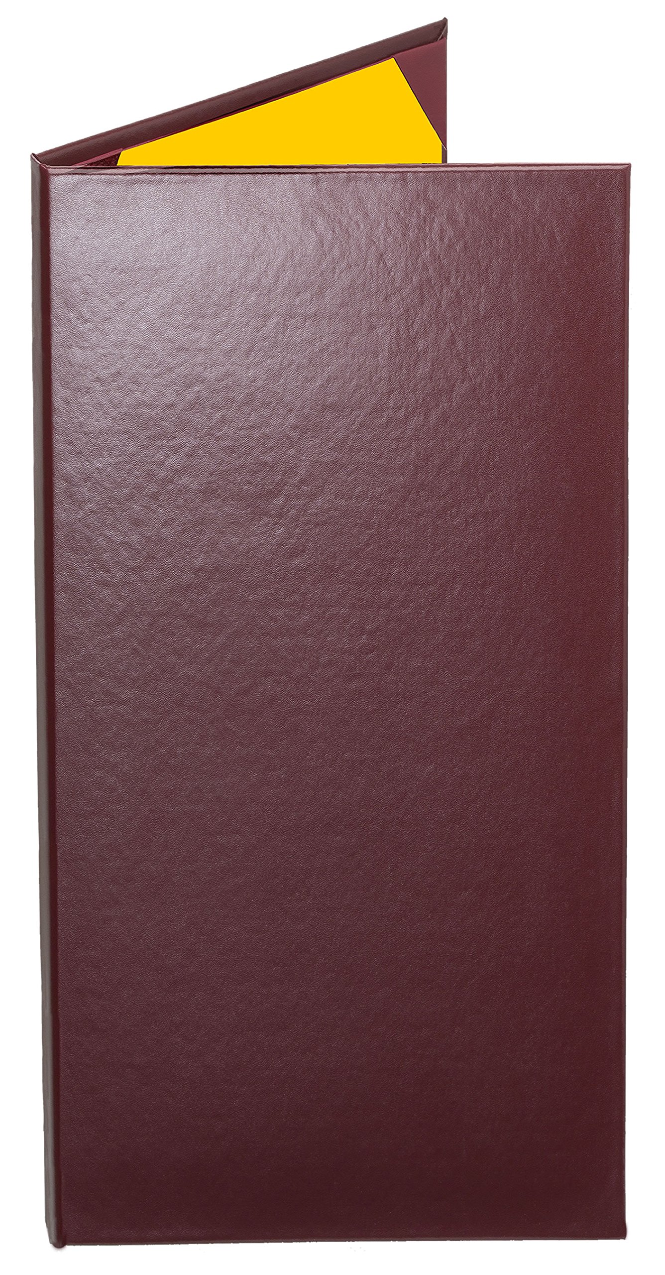 Case of 5 Cascade Casebound ''Tall & Thin'' Menu Covers #8097 BURGUNDY DOUBLE PANEL - 2-VIEW - 4.25'' WIDE x 11'' TALL. Interior album-style corners. Search MenuCoverMan in Amazon.