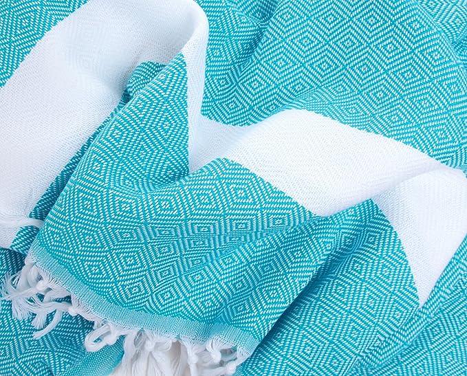 Diseño de diamantes algodón toalla Pestemal blanco en turquesa. Turco toalla. Turco toalla de baño: Amazon.es: Hogar