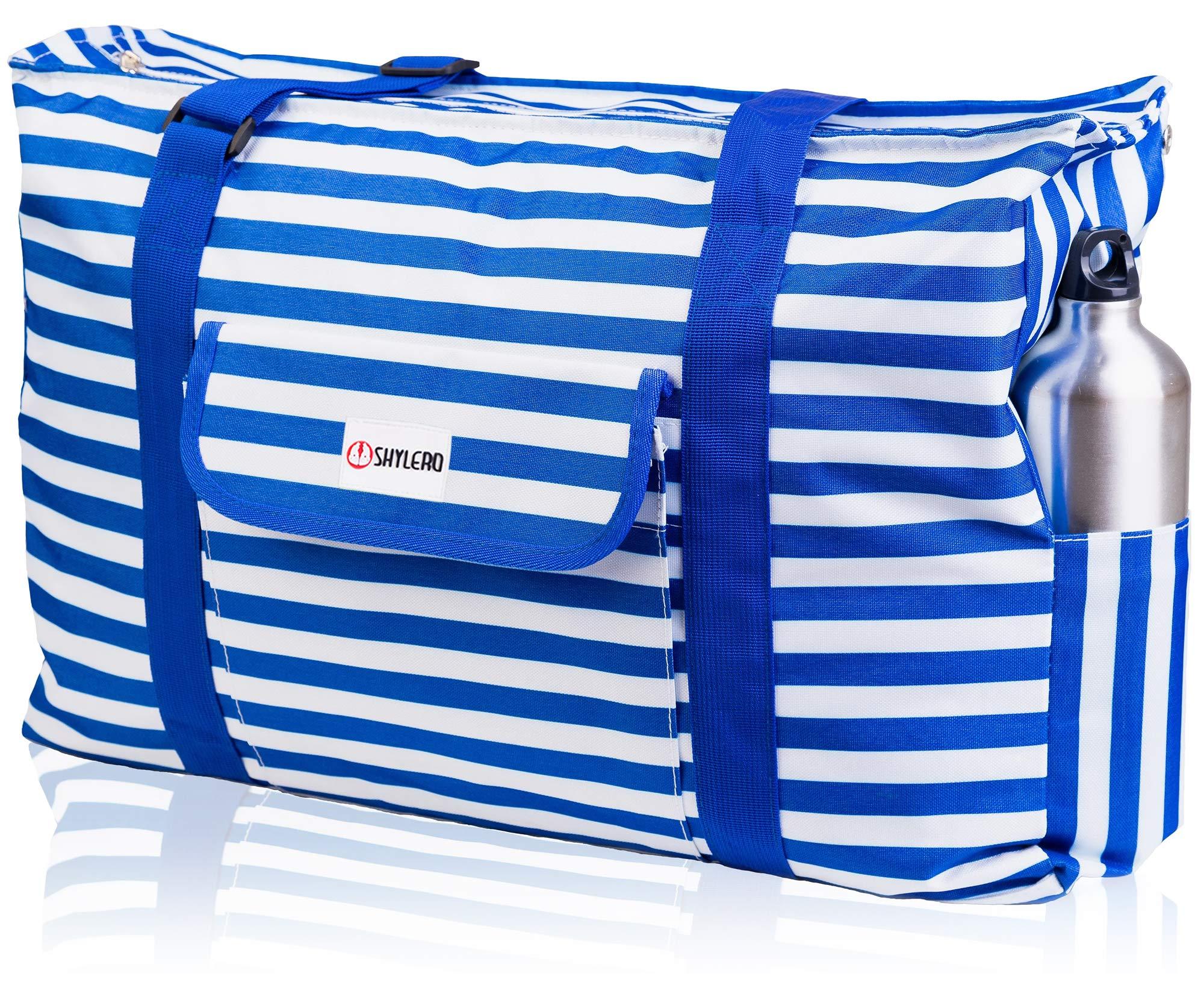 Beach Bag XXL. 100% Waterproof (IP64). L22 xH15 xW6 w Ribbon Handles (Padded Grip), Top Zip, Three Outside Pockets. Blue Stripes Beach Tote Includes Phone Case, Built-In Key Holder, Bottle Opener