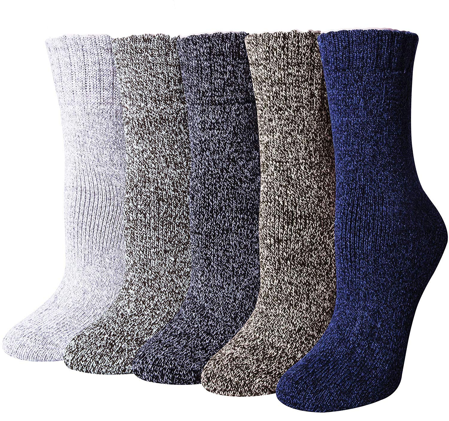 Women's Vintage Winter Soft Wool Funny Socks Casual Thick Knit Crew Cozy Socks 5 Pack 5 Pack Solid Warm Socks