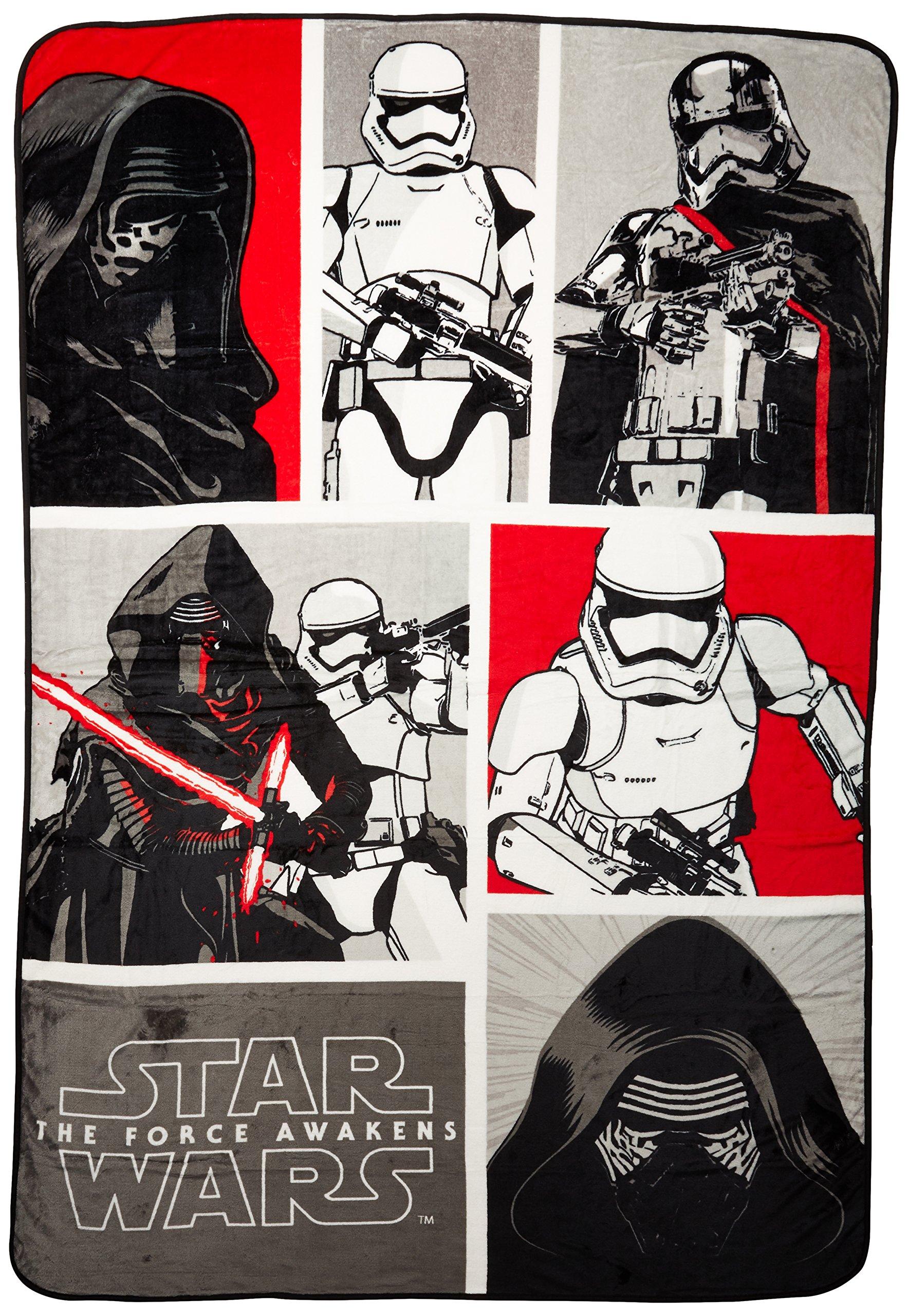 Jay Franco Star Wars Plush 62'' x 90'' Twin Blanket, White, 6 Piece