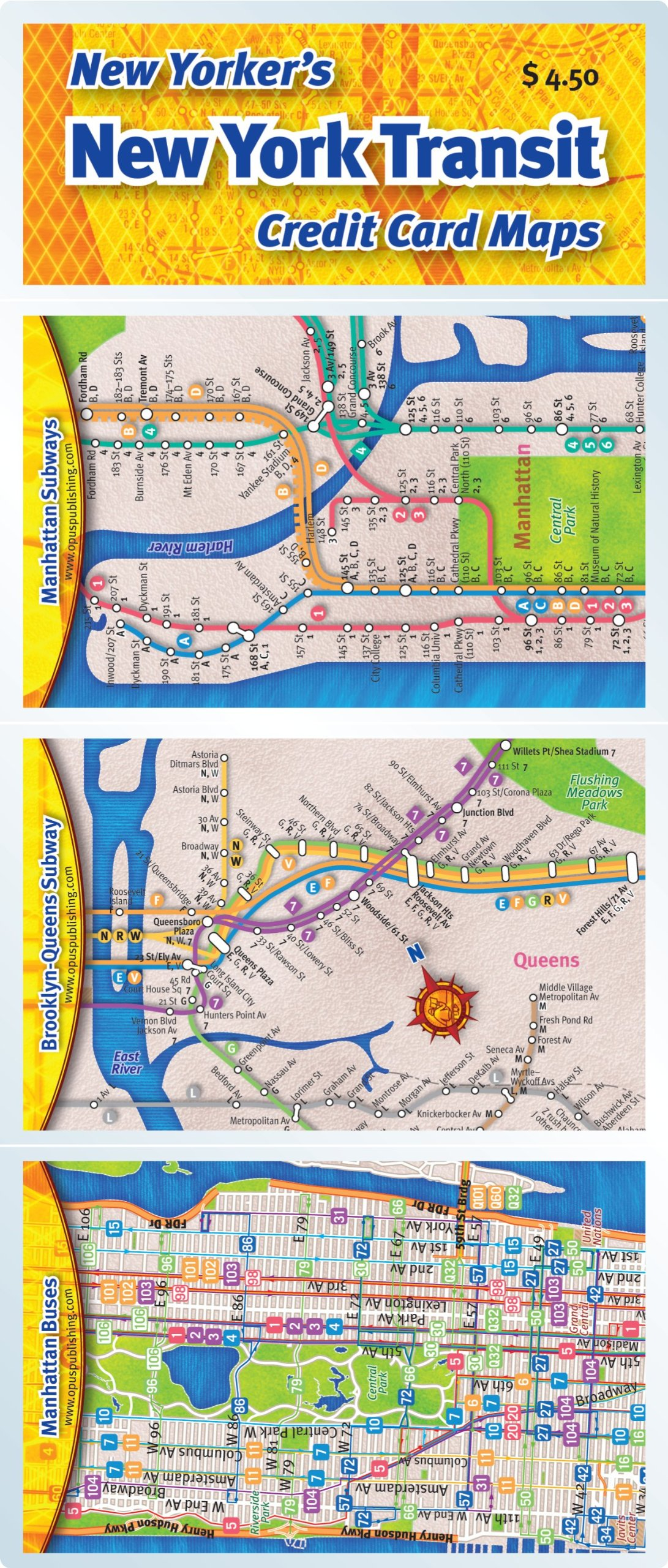Manhattan Mta Mini Subway Map And Address Finder.Credit Card Maps New York Transit Set Opus Publishing