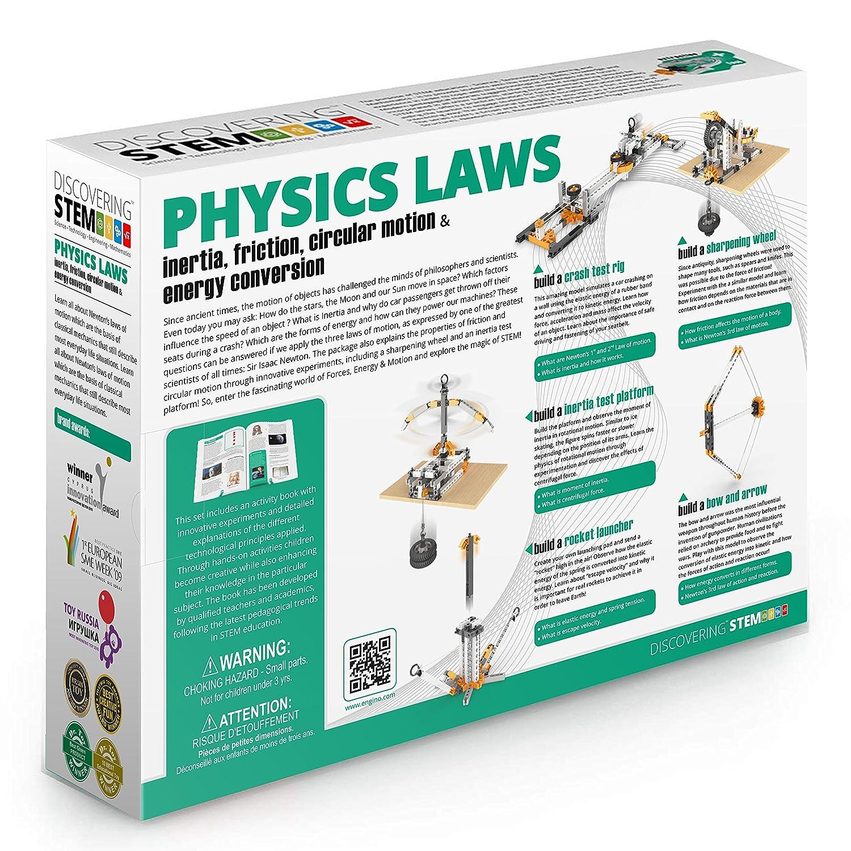 Engino ENG-STEM902 Physics Laws-Inertia Circular Motion and Energy Conservation Building Set Friction 118 Piece Elenco Electronics Inc