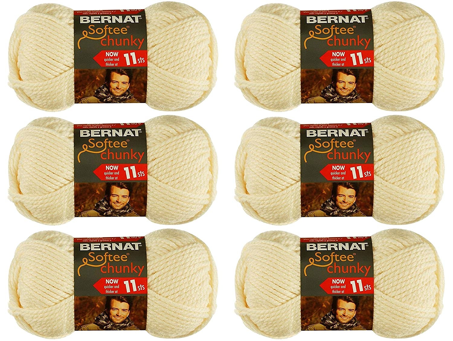Bulk Buy: Bernat Softee Chunky Yarn (6-Pack) White 161128-28005 Spinrite LP. BCAC31187