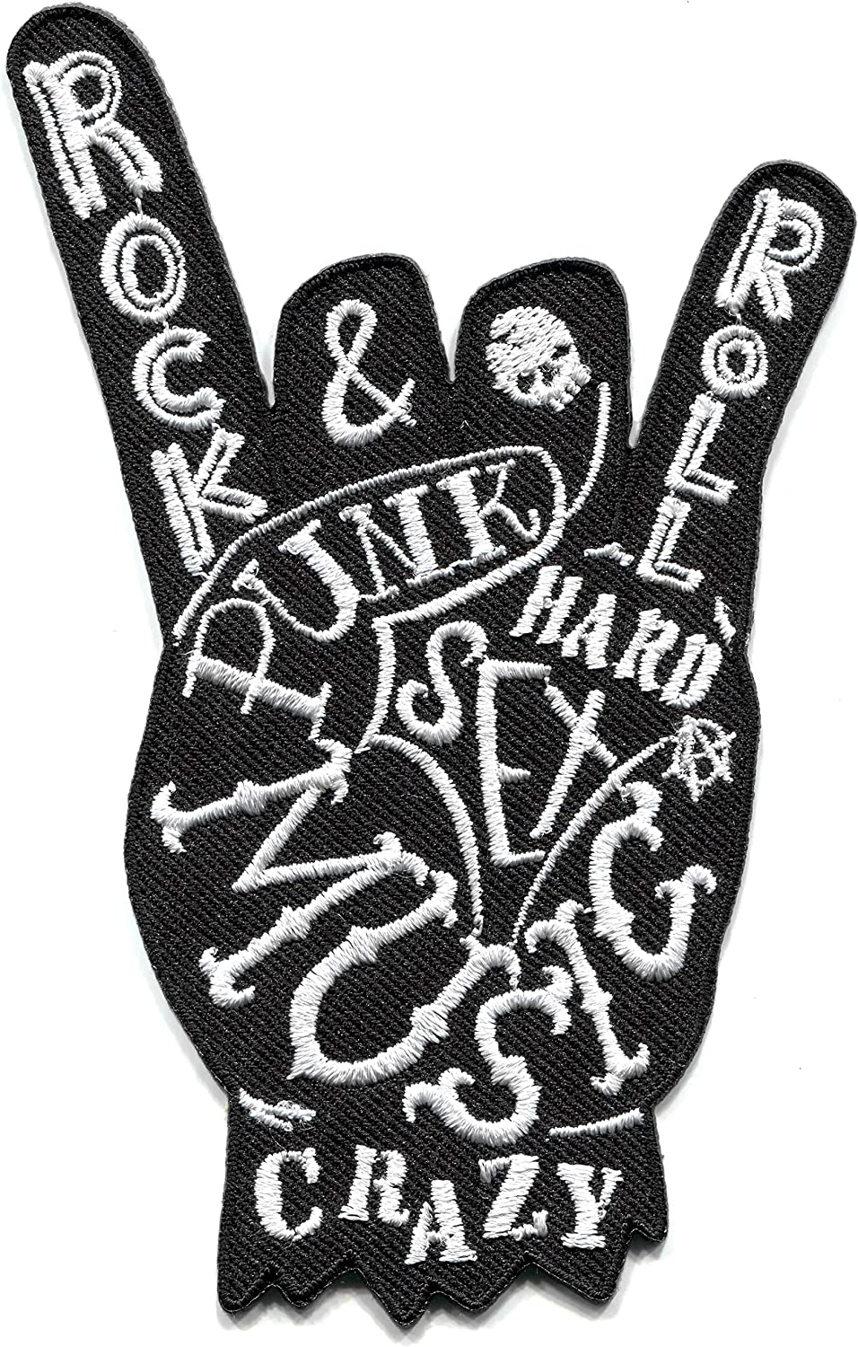 Rock /& roll Salute Punk Biker Retro Party Embroidered Applique Iron-on Patch S-1575