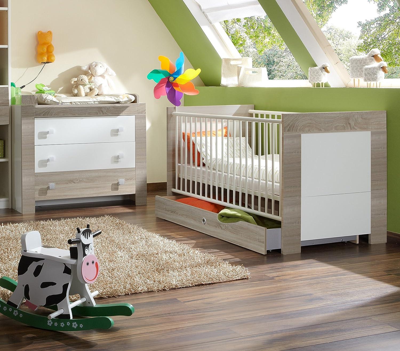 Babyzimmer-Set KIRA 5tlg Komplett Bett Wickelkommode Schrank Eiche Sägerau