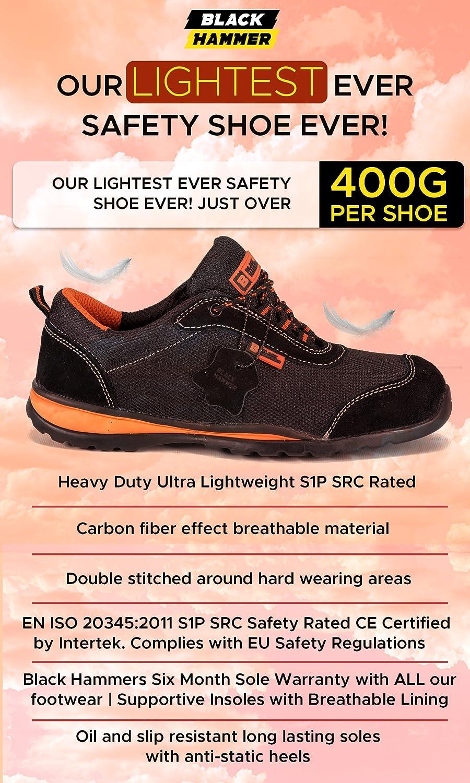 Zapatillas de Seguridad ultraligeras con Puntera de Acero y Entresuela de Kevlar. Ideales para el Trabajo y con protección en el Tobillo.