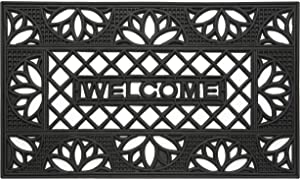 Achim Home Furnishings WRM1830TP6 Tulip Wrought Iron Rubber Door Mat, 18 by 30