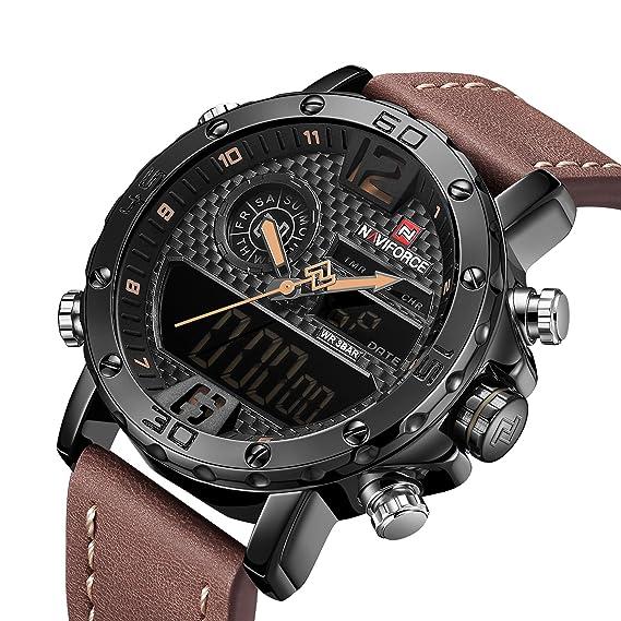 Naviforce - Reloj de Pulsera para Hombre, analógico, Digital, Multifuncional, Impermeable, de Doble Pantalla, Casual, para Negocios: Amazon.es: Relojes