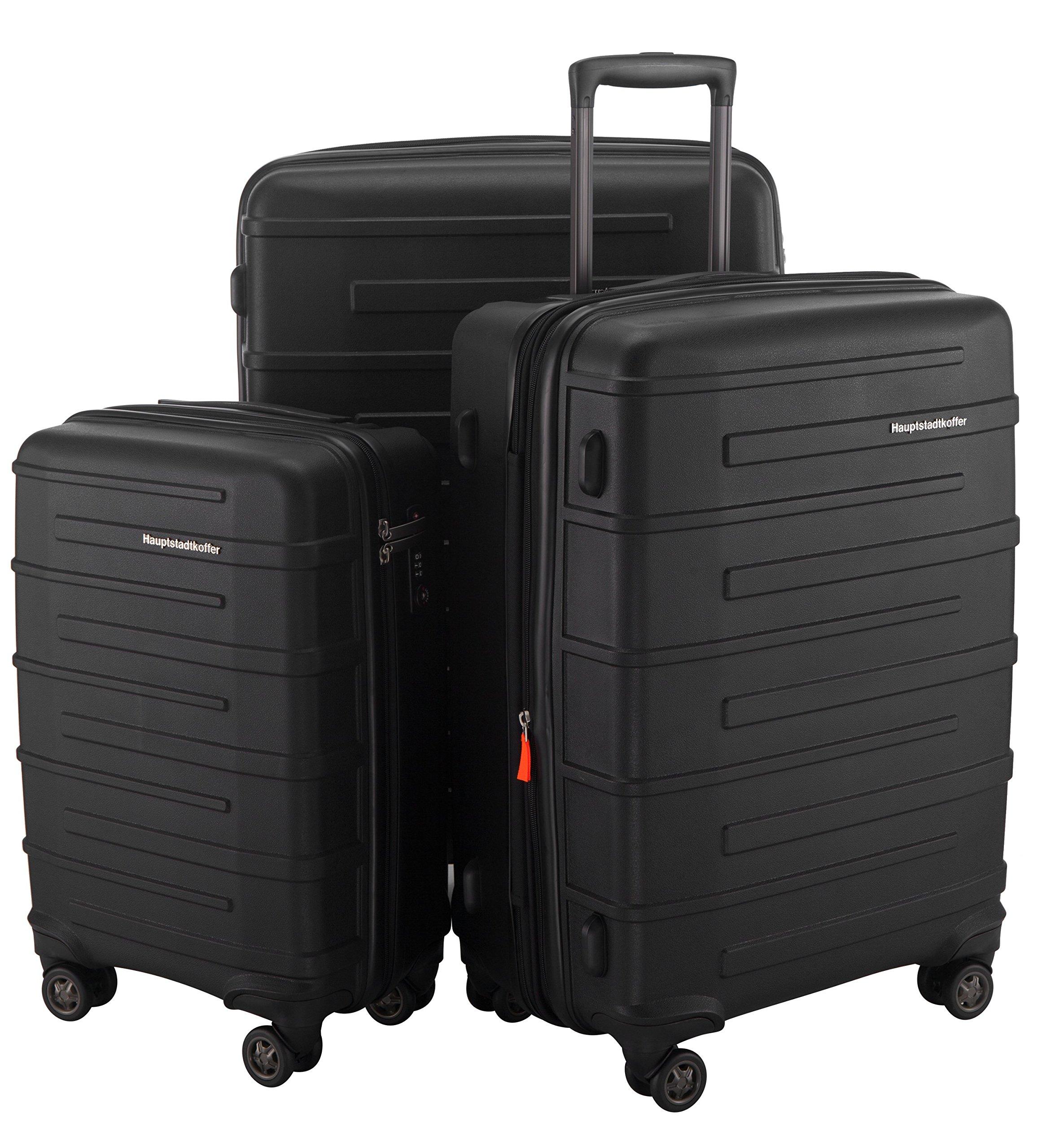 HAUPTSTADTKOFFER Ostkreuz Luggages Set Matt Suitcase Set Hardside Spinner Trolley Expandable (20¡°, 24¡° & 28¡°) TSA Black