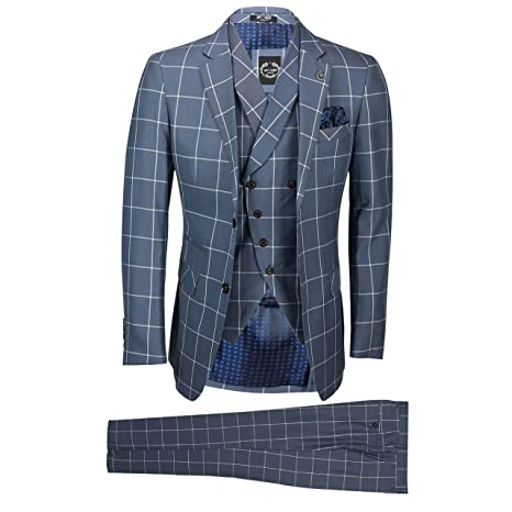 Mens Classic 3 Piece Suit White Bold Check on Grey Retro Vintage Tailored Fit- Jacket Vest Pants: Amazon.co.uk: Clothing