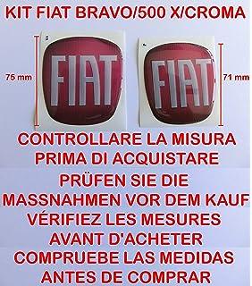 Kit de adhesivos de logo para Fiat Nuevo 500, delantero y trasero, color rojo, efecto resina 3D, adhesivo 3M: Amazon.es: Coche y moto