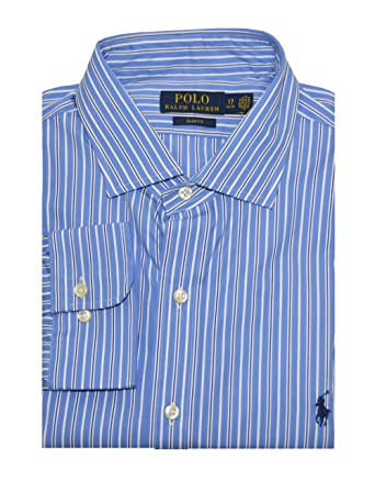 c50689d05 Polo Ralph Lauren Men s Slim Fit Striped Poplin Dress Shirt (14.5(32 ...