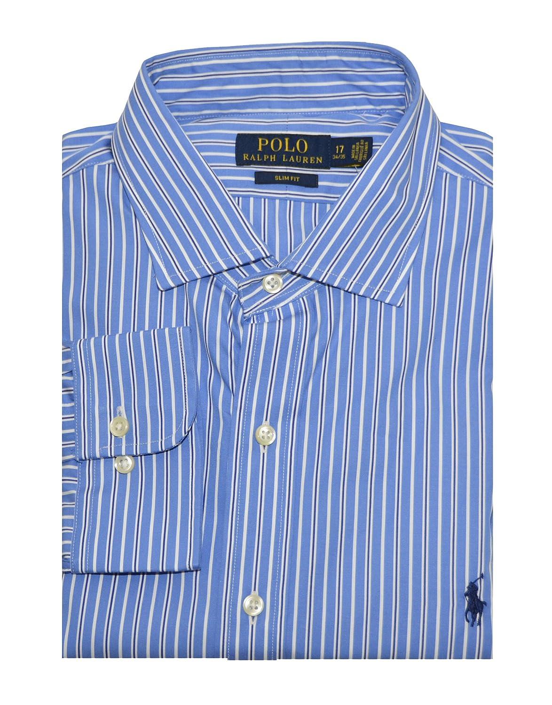 5d51d4a493180 Polo Ralph Lauren Men s Slim Fit Striped Poplin Dress Shirt (14.5(32 ...