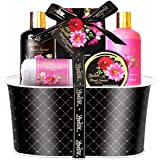 Lovestee Father's Day Gift Bath Basket –Bath and Body Set with Floral Fragrance Spa Gift Basket Includes Shower Gel, Bubble Bath, Body Lotion, Hand Lotion, Bath Salt and a White Bath Towel